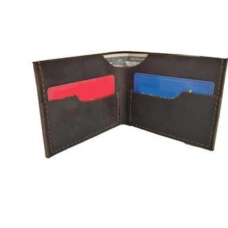 Коричневый кожаный портмоне х8 (10 цветов)