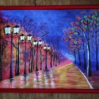 "Картина ""Ночная аллея"""