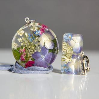 Комплект украшений с гортензией (цветочные украшения)