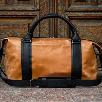 Кожаная спортивная сумка. Большая дорожная сумка