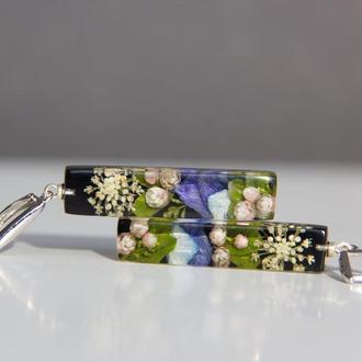Сережки с цветами (яркие серьги, цветы в смоле)
