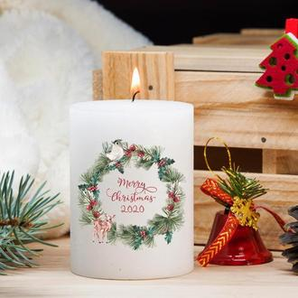 Белая свеча большая из парафина, подарок на Рождество