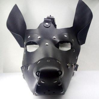 Кожаная маска  добермана ,БДСМ, для взрослых