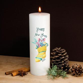 Новогодняя свеча белая, парафин