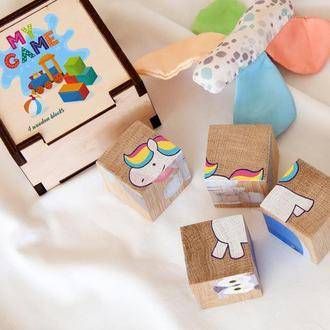Развивающие кубики для детей, деревянные