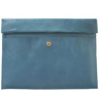 Кожаный чехол для Macbook на скрытом магните. 03005/голубой