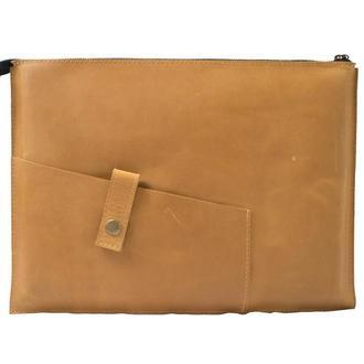 Кожаный чехол для Macbook на молнии. 03006/желтый