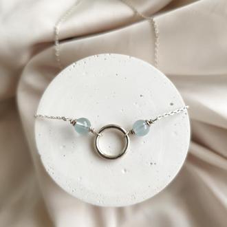 Серебряное колье с натуральным голубым топазом, Минималистичная подвеска круг