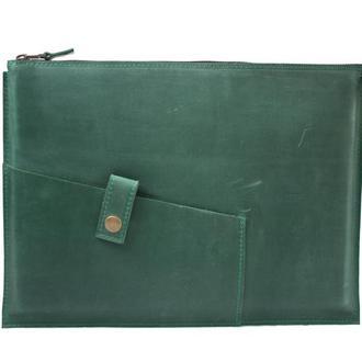 Кожаный чехол для Macbook на молнии. 03006/зеленый