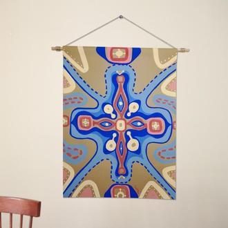Большая картина Панно на стену Декор кафе Пастельные цвета Бохо Картина в рамке