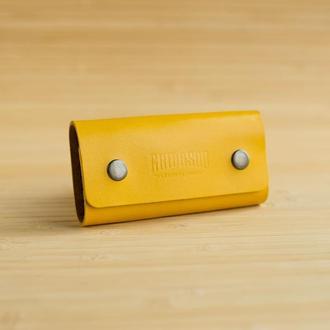 Ключница из натуральной кожи Clavem желтая