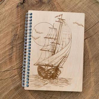 Деревянный блокнот с гравировкой А5