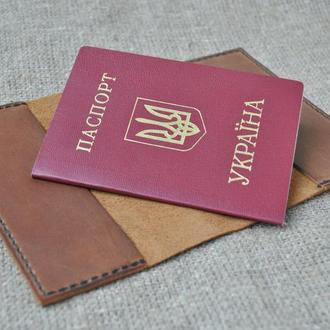 Коричневая обложка для паспорта из натуральной кожи P03-210