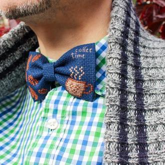 Вышитая галстук-бабочка / Метелик з вишивкою / Кавовий метелик / Синій метелик