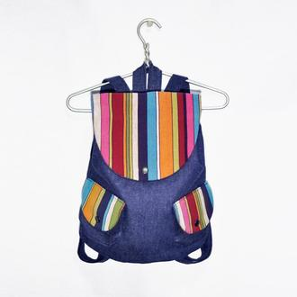 Рюкзак хлопковый Джинс Геометрия Разноцветный