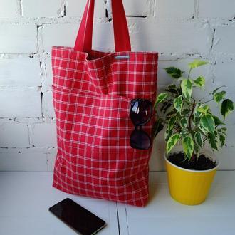 Сумка для покупок в клетку, эко сумка, эко торба, сумка шоппер 19 (1)