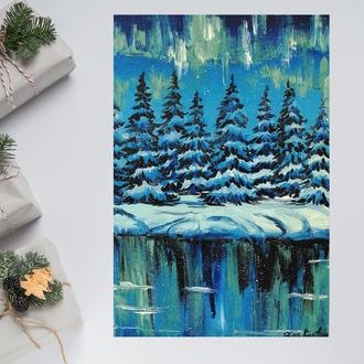 Картина маслом Северное сияние, Картина на холсте, Зимний пейзаж маслом, Авторская живопись