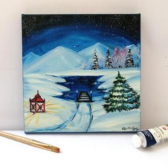 Масляная живопись озеро в лесу, Зимний пейзаж маслом, Ночное небо маслом, Авторская живопись