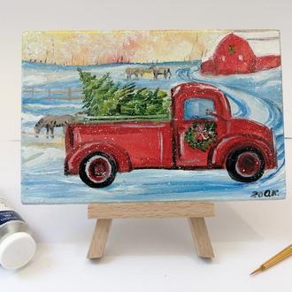 Миниатюра маслом красная машина с ёлкой, Маленькая картина, Картина на подарок, Масляная живопись