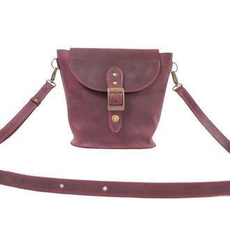 Компактная кожаная сумка на плече. 07009/бордо