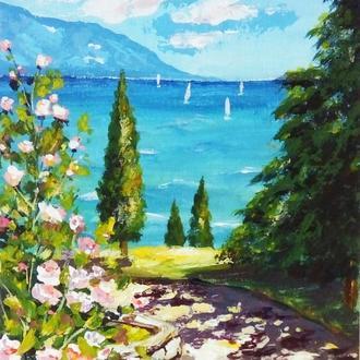 """Картина, морской пейзаж """"Солнечный день"""""""