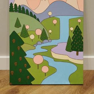 Картина акрил, 35*50, матовая, Весна в горах