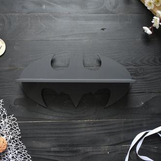 """Полочка """"Бэтмен"""" в детскую, в черном цвете, из дерева"""
