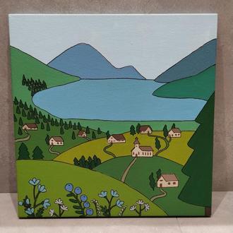 Деревня в горах, картина акрил, 30х30см, холст на подрамнике