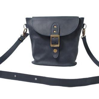 Компактная кожаная сумка на плече. 07009/синий