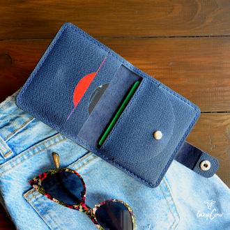 Женский кошелек с отделением для монет из кожи синего цвета