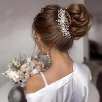 Свадебное украшение для волос, веточка в прическу, украшение в прическу на выпускной