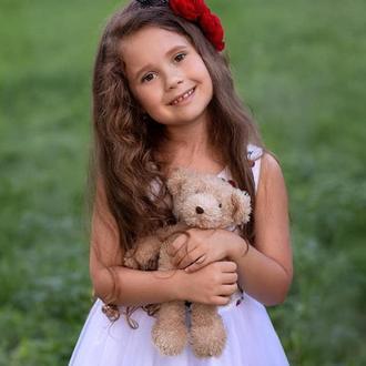 Красный цветочный ободок , ободок с цветами , ободок для девочки