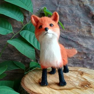 Интерьерная игрушка Лисичка лиса войлочная игрушка из шерсти