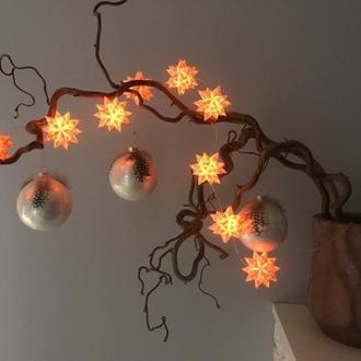 Новогодняя гирлянда Звезды из бумаги + led