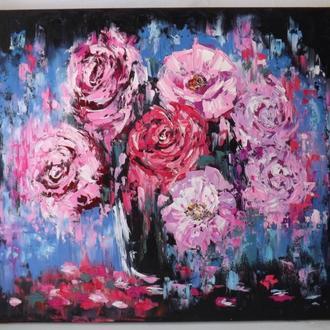 "Картина ""Яркие цветы"", холст, масло."