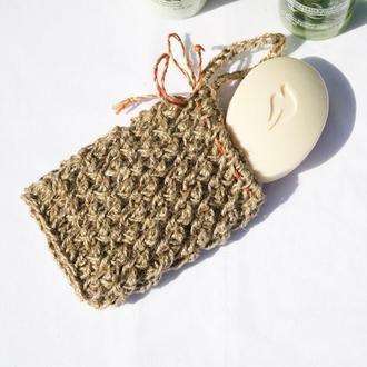 Мочалка мешочек для мыла 14х11 массажная натуральная из джута