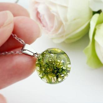 Подвеска-шар с лесным мхом. Украшения из цветов и растений. (модель № 2620) Glassy Flowers