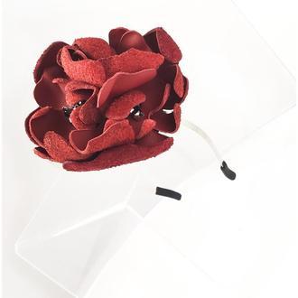 Ободок обруч тиара для волос с цветком из натуральной кожи наппа belle bagatelle