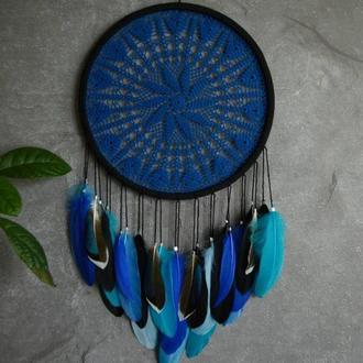Ловец снов - ажурный синего цвета, декор и оберег, оригинальный подарок близким и друзьям