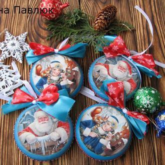Игрушки на елку деревянные, новогодние игрушки,дед мороз, снегурочка