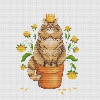 """Схема для вишивання хрестиком """"Кіт-просто цар"""" 18*23 см"""