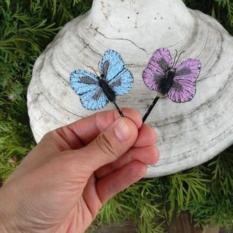 Заколки бабочки, невидимки бабочки 2шт.