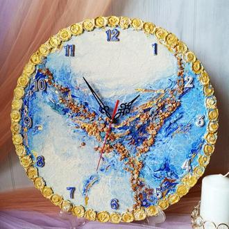 Большие оригинальные настенные часы, синяя абстракция