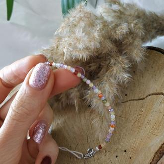 Серебряное браслет с натуральными цирконами ′Радуга′