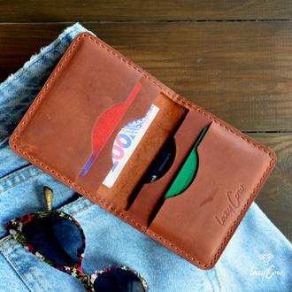 Женский мини кошелек из кожи Crazy Horse цвет коньяк