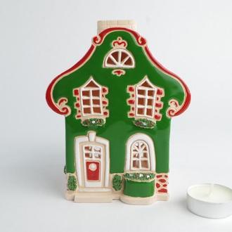 """Керамический домик """"Барокко""""(зеленый). Рождественский подарок"""