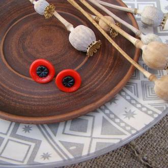 Серьги-гвоздики Маки стилизованные