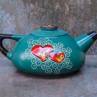 Чайник великий , декор Серце зелений