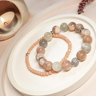 Набор браслетов, браслет из натуральных камней, браслет из солнечного камня, новогодний подарок