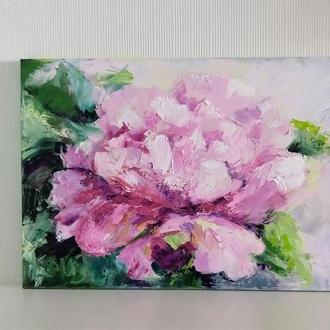Большая интерьерная картина масляными красками  - Пион -